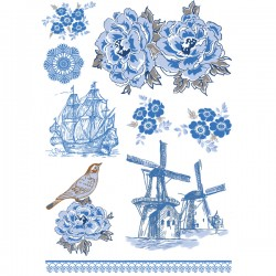 דקאלים - איורים כחול לבן