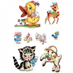 דקאלים - חיות מתוקות בסגנון וינטאג'